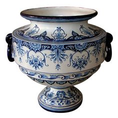 A Massive French Blue & White Tin-Glazed Faience Urn