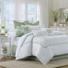 Coastal Bedding Seaside Beach Decor / Beach Cottage Style ~ 2 comfort set, harbor hous, bed sets, decorative pillows, beach hous, comforter sets, cape cod, bedroom, comforters