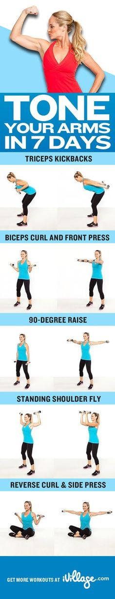 Tone your arms in 7 days with these easy workouts. fit, arm exercises, workout at home, arm toning, arm day, at home workouts, toned arms, health, arm workouts