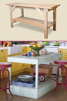 quirki cottag, cottag kitchen, cottage kitchens, workbench design, kitchen islands