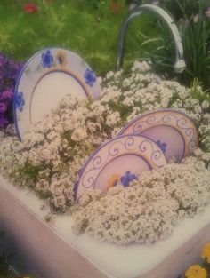 kitchen sink and antique dishes into container garden, so adorable