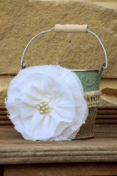 shabby chic rustic country flower girl basket by VintageBabyLace, $24.50
