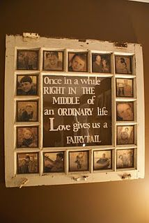 love old windows for frames. So cute. Too bad they misspelled fairy tale. If you're going to do the project, it helps to spell things correctly.