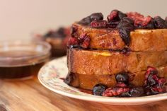 banana bread french toast with blueberry walnut compote