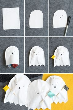 DIY Paper Ghost Treat Pouches...their little washi tape flags put the cuteness factor over the top! {Confetti Sunshine for Pizzazzerie}