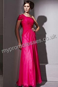 Floor length One-shoulder Red Satin A-line Evening Dress  http://www.mypromdresses.co.uk