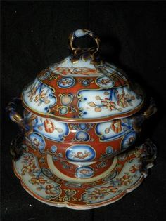 Antique English Ironstone Sauce Tureen Undertray Pattern 7838 | eBay