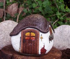 THE ENCHANTED COTTAGE -- Hand Painted Rock