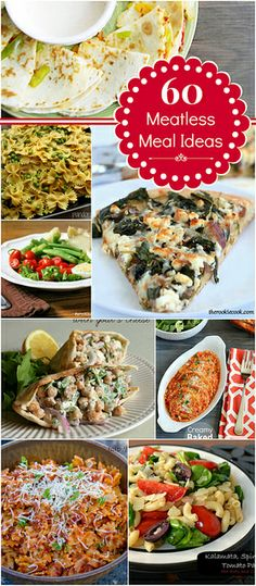 60 Meatless Meal Ideas #meatless #dinnerideas #roundup by lovebakesgoodcakes, via Flickr
