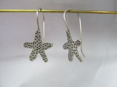 Handcrafted Starfish earrings - hand drawn, hand cut in sterling silver, hand textured and unique by JoDeneMoneuseJewelry