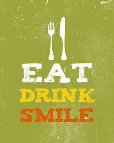 Eat Drink Smile Print Home Decor  Kitchen Art   Dining by evivart, $16.00