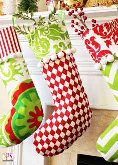 Classic Cuffed Christmas Stocking Pattern-love the fabrics