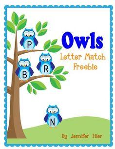 Owl Letter Match Freebie
