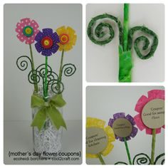 A fun idea for Mom! Create a bouquet of flower coupons. Flowers on the front, special coupon on the back! Designed by EcoHeidi Borchers.
