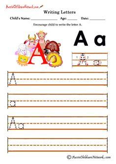 Writing alphabet A a kids printables Animals