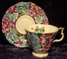Royal Albert ~ Angela ~ Violets Chintz ~ Tea Cup and Saucer violet chintz, chintz teacup, tea cup