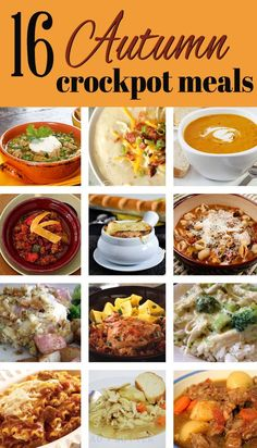 crock pots, 16 autumn, pumpkin soup, autumn crock, crockpot recipes, baked potato soup, autumn falls, meal recipes, fall foods