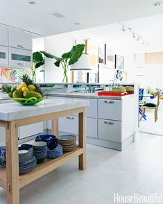 island idea, contemporary kitchens, apartment kitchen, colorful kitchens, hous, kitchen islands, white kitchens