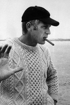 """""""A man in Irish Cable Knit beats that in a tuxedo any day.""""—Me(Steve McQueen)    http://thelittlefrenchbullblog.tumblr.com/post/31321978767/steve-mcqueen"""