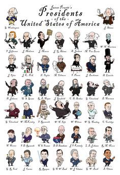 FREE Presidents Poster~ From Washington to Obama, great drawings of each president all on one poster!