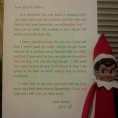 Good bye letter, elf on the shelf.