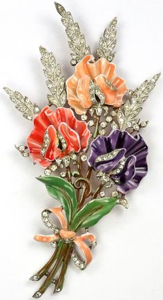 Trifari 'Alfred Philippe' Pave and Enamel Triple Floral Spray with Bow Pin