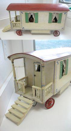 "Antique German Wooden Dollhouse Gypsy Vardo Wagon. (19"") by Moritz Gottschalk, 1910"