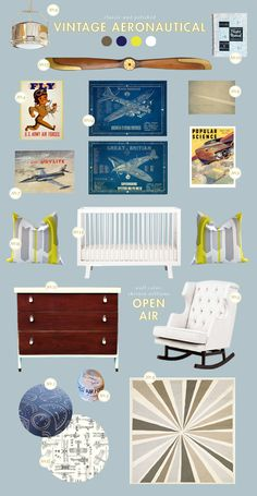 Someday if I have a kid, you know it's gonna be airplanes :-) Vintage aeronautical nursery :: Lay Baby Lay
