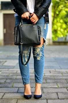 ripped jeans and basic staples