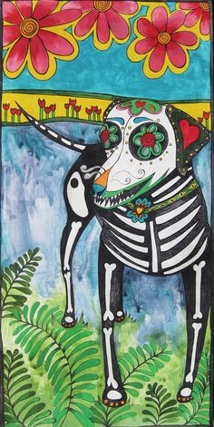 au, au! Lindooo! Rhodesian Ridgeback in the Dia de los Muertos style, acrylic on wood. See more at https://www.facebook.com/RobiniArt, #sugar skull, #art, #design