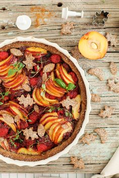 Peach and Raspberry Summer Tart  #glutenfree #antiinflammatory #dairyfree #vegetarian