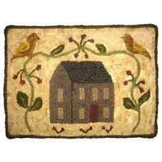 bird, hook rug, wool rug, hook ki, craft wool, hous, rugs, homes, rug hooking