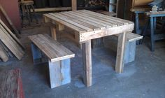 Patio or picnic table made from pallet