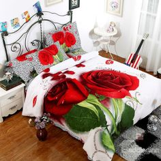 Red Rose with Dewdrop Print 100% Cotton 3D Duvet Cover Sets #redrose #rosebedding #4piecesbeddingset Live a better life start with @beddinginn