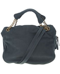 Teal leather bag from Vanessa Bruno featuring furnished gold-tone hardware, two leather and chain handles that can be used as short handles or extended to longer shoulder straps, two side compartments with concealed magnetic fastenings, two patch pockets and a slit pocket with zip fastening.