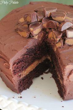 Peanut Butter Cookie Dough Layered Chocolate Cake