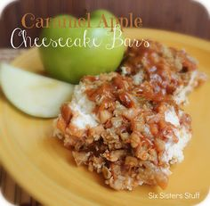 Caramel Apple Cheesecake Bars from Six Sisters' Stuff. Delicious cream cheese and apple taste, these are to die for!