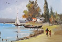 """A serene seaside image comes to life in """"Pe Mailul Lacului"""" by emerging artist  Nicolae Ambrozie. #art #ArtistBecome"""