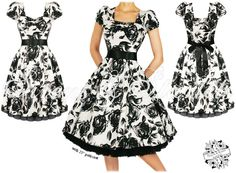 White-based floral - 50's Style Swing Dress.
