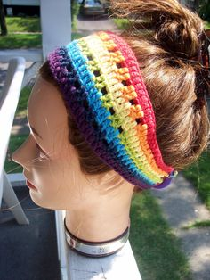 party favors, long hair, hair pieces, color patterns, crocheted headbands, hair accessories, rainbow, bright colors, crochet headbands