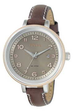 Fossil 'Bridgett' Leather Strap Round Watch available at Nordstrom