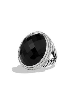 DY Signature Oval Ring with Black Onyx and Diamonds