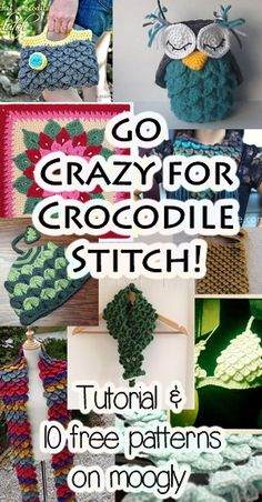 Free Crocodile Stitch Crochet Patterns with Tutorials! #crochet stitch crochet, tutorial crochet, crochet owls, baby blankets, crocodil stitch, granny squares, crochet patterns, free crocodil, stitch patterns