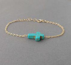 Turquoise Sideways Cross Bracelet Horizontal gold or by jennijewel, $23.00