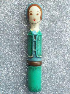 Vintage Figural DOLL LIPSTICK Paper Mache Mexico Makeup Case Folkart 60's 70's