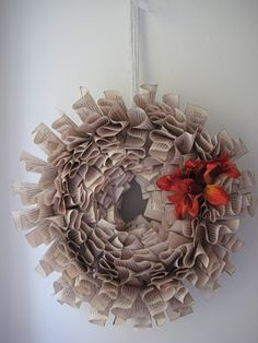 see kate sew: book wreath tutorial - If I made it small, it would be perfect for hanging in our little shelf nook!