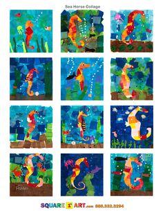 Sea Horse Collage Medium: Multi-colored tissue paper, Elmers Glue, Sharpie Marker  www.square1art.com