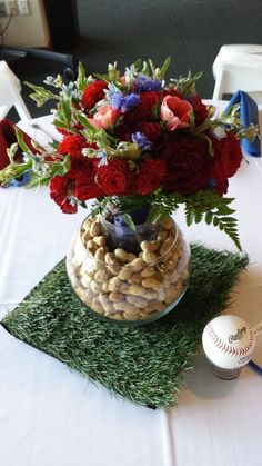 Baseball Wedding Centerpieces | Baseball Themed Wedding Table Centerpiece! ... | Baseball Wedding!