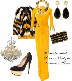Yellow gown  Dinner Party Outfit