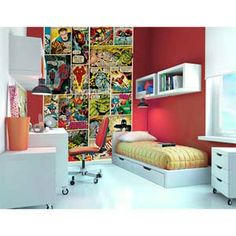 Marvel comic strip wall mural